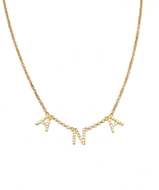 18k Gold Name Necklace Zircons