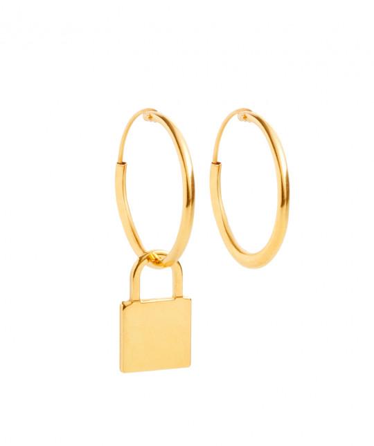 Gold Padlock Earrings
