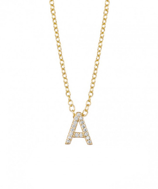 Gold Initial Necklace Zircons