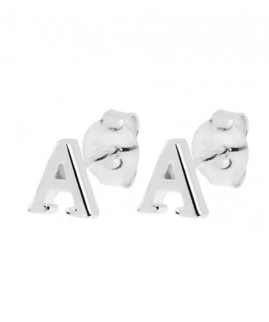 Initial Silver Earrings