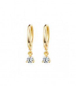 Gold Zirconia Hoop Earrings