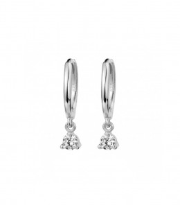 Silver Zirconia Hoop Earrings