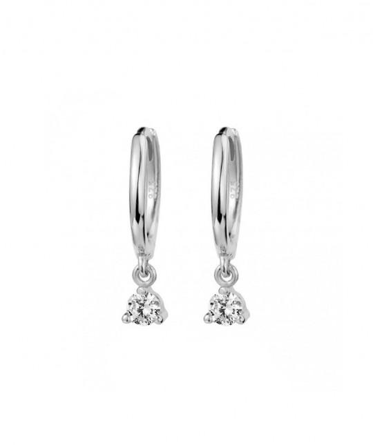 Silver Zirconia Hoop Earrings