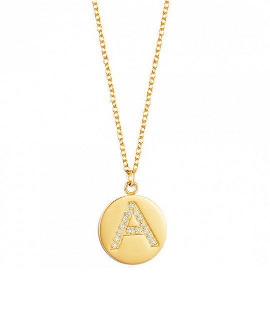 Initial Plate Zirconia Necklace
