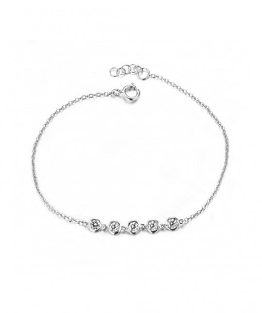 Bracelet 5 Zirconias Silver