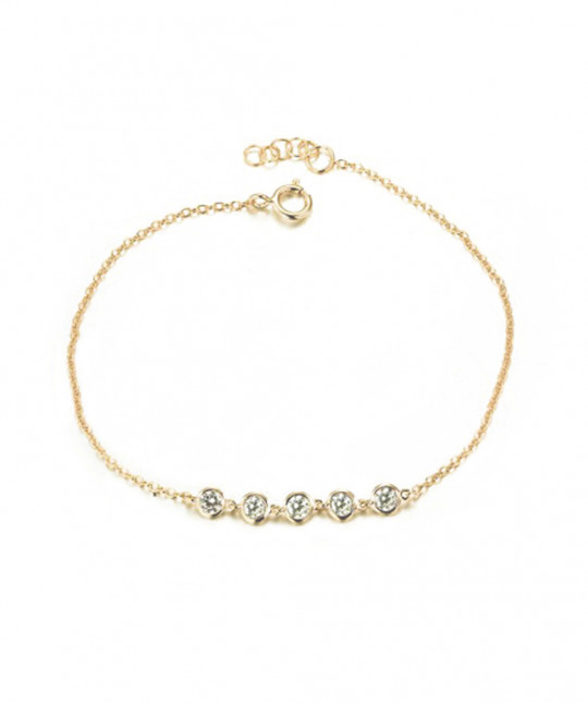 Bracelet 5 Zirconias Gold