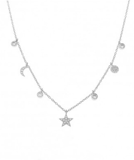 Necklace 7 Charms Zirconia Silver