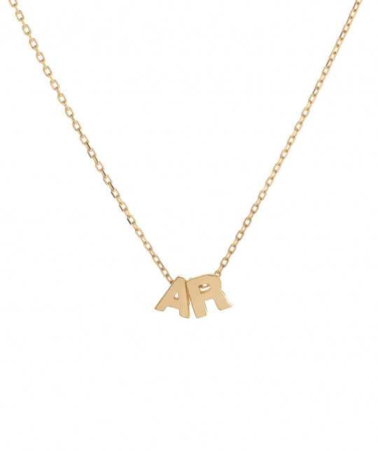 Plate Gold Initials Necklace