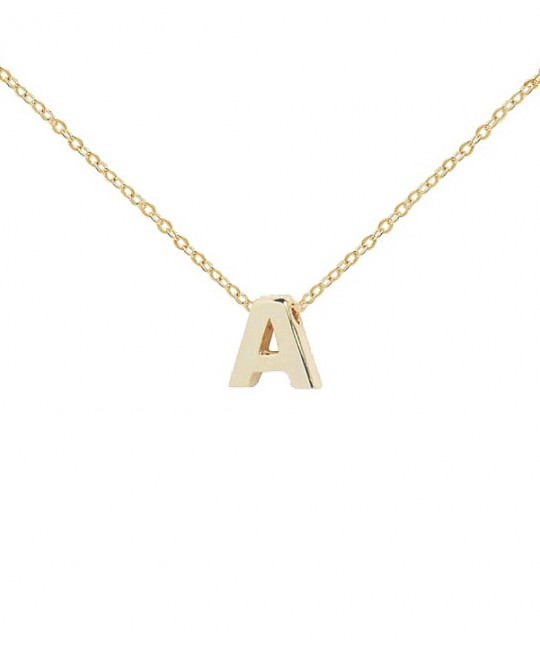 Plate Gold initial Necklace