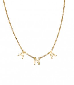 Gold Name Necklace Zircons
