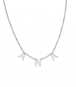 Silver Name Necklace Zircons