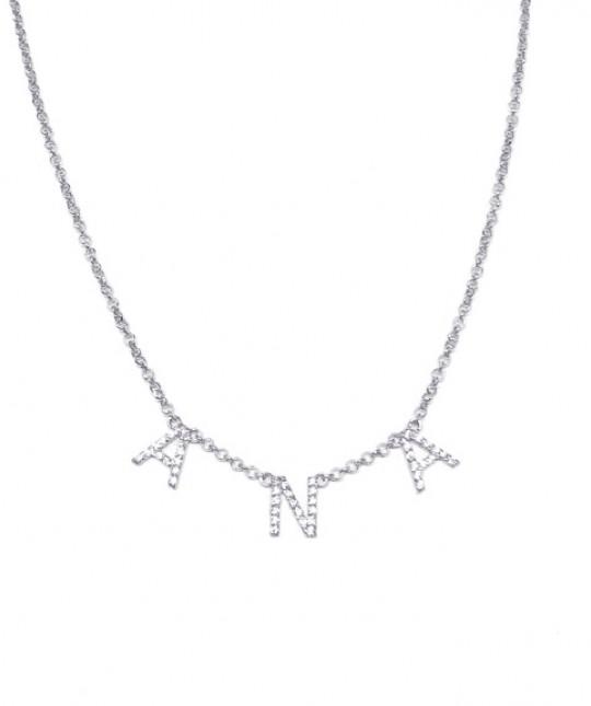Silver Name Necklace Zircons