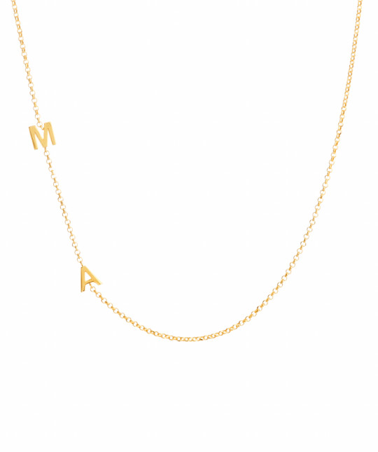 Double Initial Gold Plate Necklace