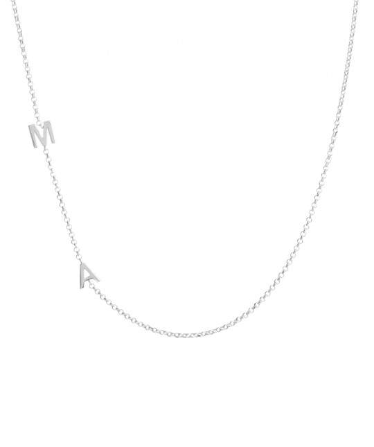Double Initial Silver Necklace
